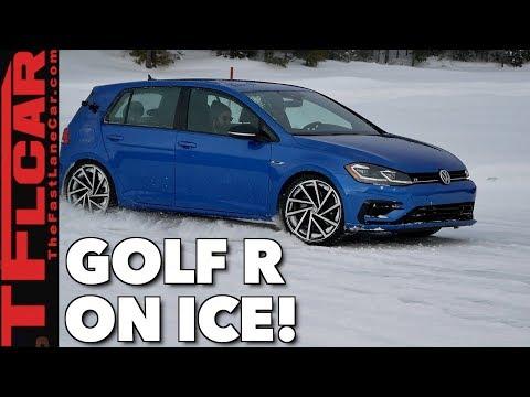 300 Horsepower + Snow Tires + Ice = VW Golf R Snow-Shredding Fun!