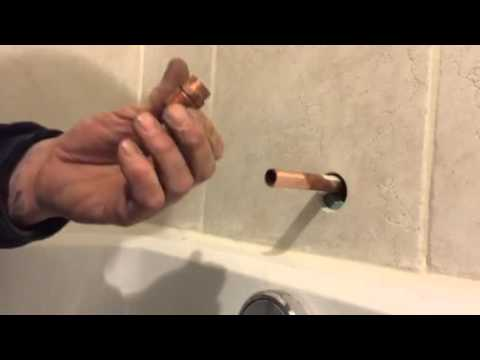 How to measure a copper line to fit a tub spout with threads