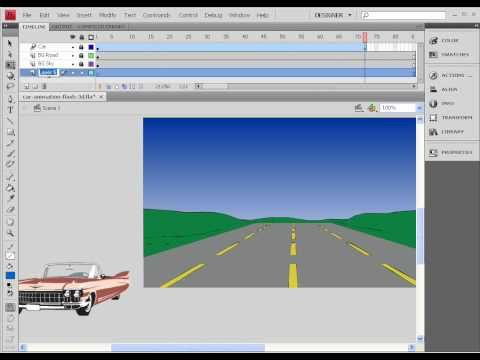 Car animation Flash 3D effect - Using 3D Position and View Properties