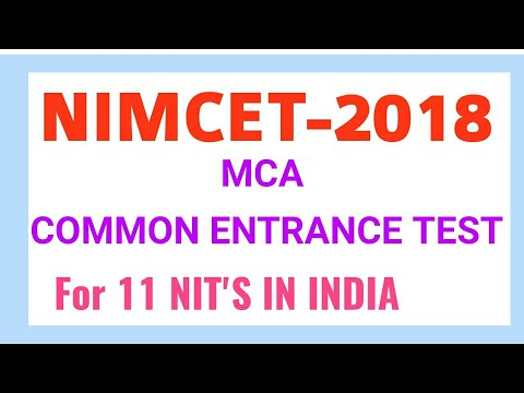 NIMCET 2018 NOTIFICATION|| MCA COMMON ENTRANCE TEST FOR NIT'S