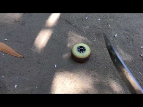 A bearing stuck in your skateboard wheel? Don't worry swords will fix it