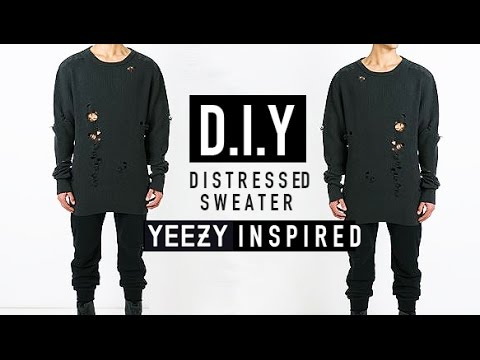 HOW TO: YEEZY INSPIRED DISTRESSED SWEATER ✂️ D.I.Y | JAIRWOO