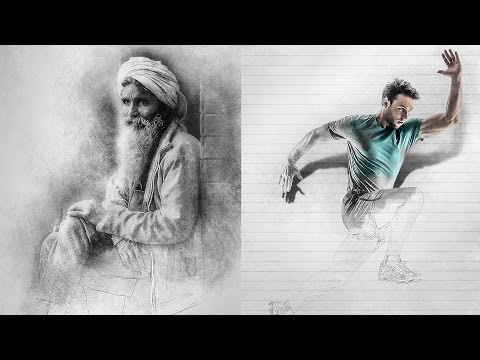Sketch Photoshop Action Tutorial (With 3D pop up effect)
