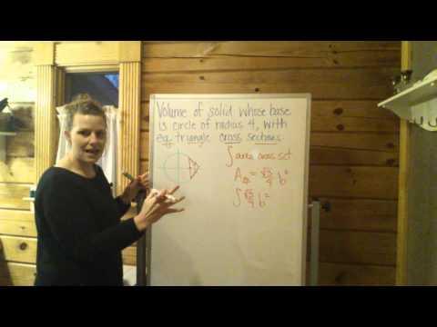Volume:solid w circle base & eq triangle cross-sct