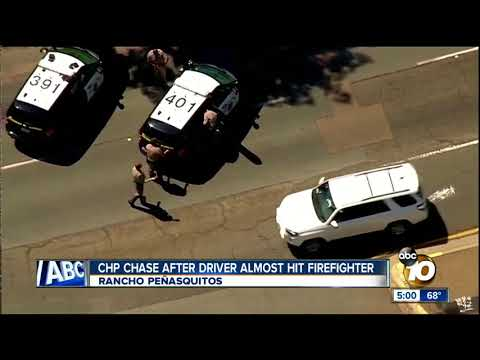 CHP chase starts after car nearly hits firefighter