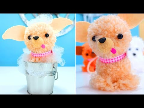 easy crafts for kids - how to make stuffed animals with pompoms
