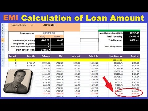 How to Calculate loan EMI in Excel sheet | Using PMT, Date , SUM function