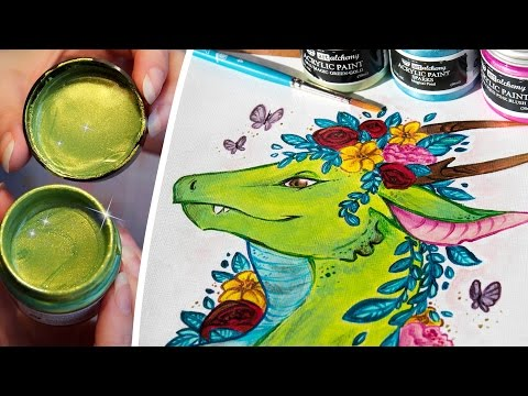 SHIMMERY & SPARKLY ACRYLIC PAINT - Painting a Flower Dragon - Art Alchemy Acrylics