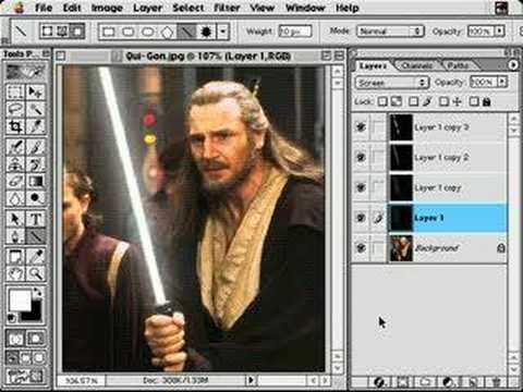 Photoshop - stars war lightsaber Tutorial