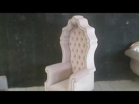 high back Throne chair upholstered in plain pink velvet