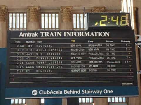 Philadelphia 30th Street Train Station Solari Board Flipping - Amtrak