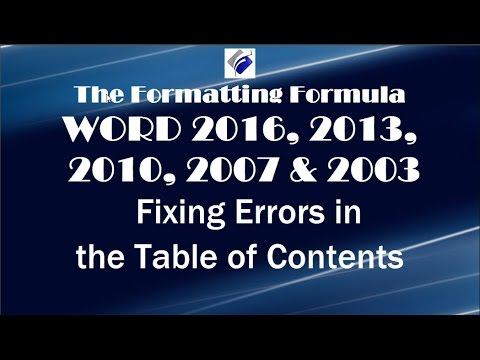 Word ALL Versions   Fixing Errors in the Table of Contents