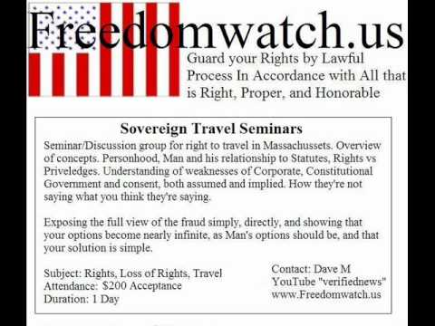 Sovereign Freeman on the Land: Travel Seminars just Accept the Charge A4V