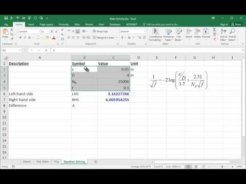 Numerical Equation-Solving in Excel