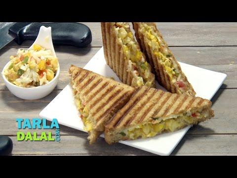 Cheesy Corn Grilled Sandwich by Tarla Dalal