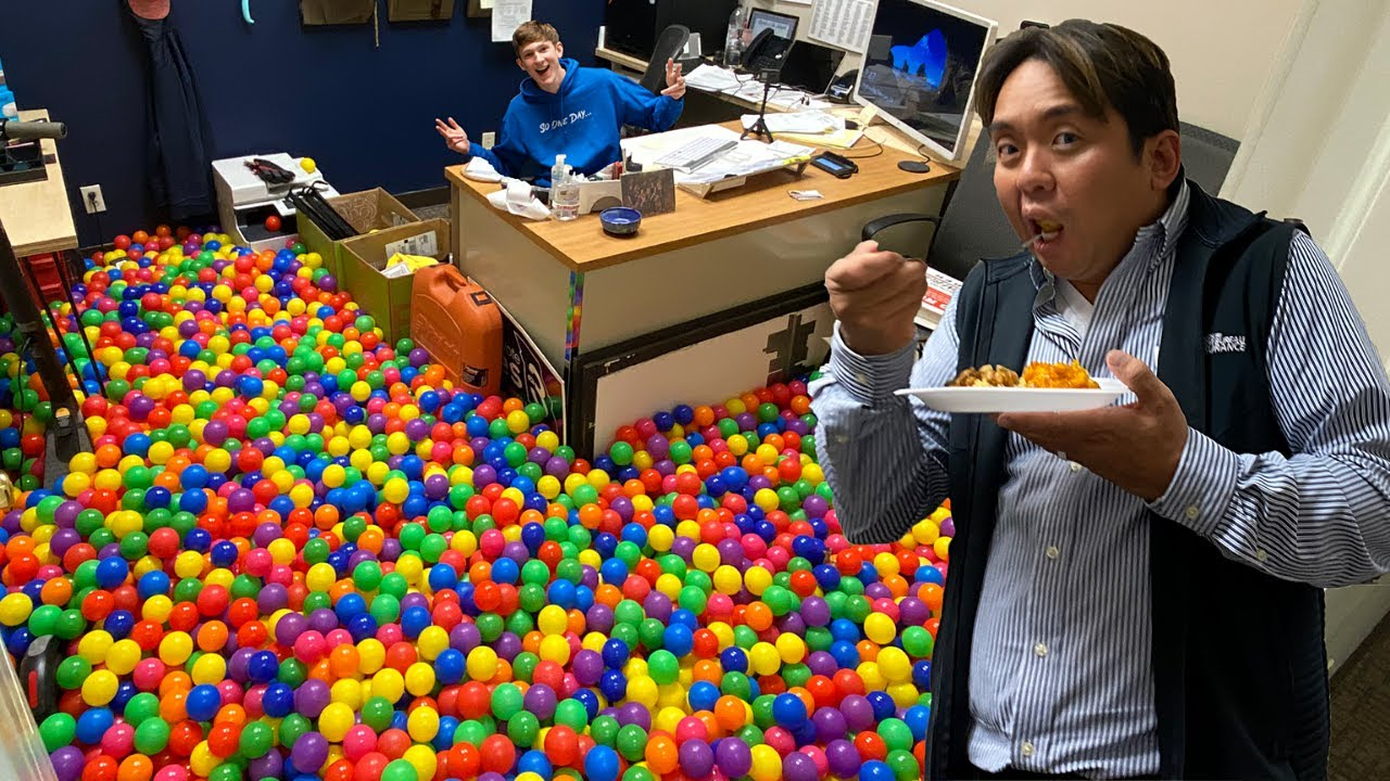 I Filled His Office With 6000 Ball Pit Balls Prank