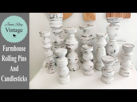 Farmhouse Rolling Pins And Candlesticks