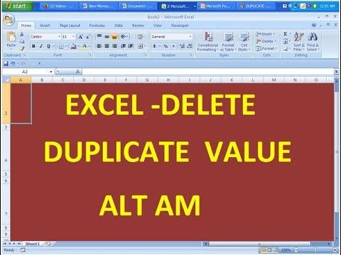 EXCEL-DELETE DUPLICATE VALUE VIA   (ALT  AM)