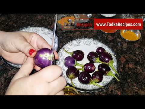 Bharwa Baingan Recipe in Hindi - Stuffed Brinjal Recipe - भरवां बैंगन - How to make Bharwa Baingan
