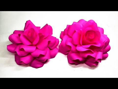 How to make realistic and easy paper roses | Giant Paper Roses | Rose Paper Tutorial | Lina's Craft
