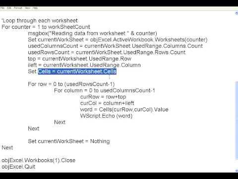 VBScript 10 Excel handling