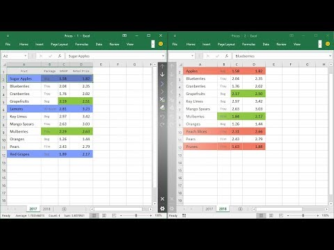 Excel: compare two worksheets and highlight differences