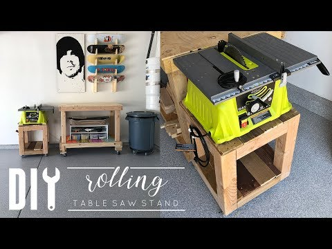 DIY Rolling Side Table | Rolling Table Saw Stand