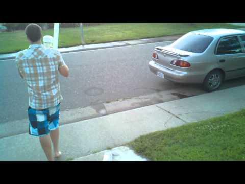 Washing a car with a spud gun