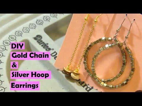 DIY Gold Chain & Silver Hoops Earring Tutorial