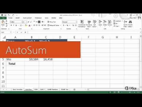 Add numbers in Excel 2013