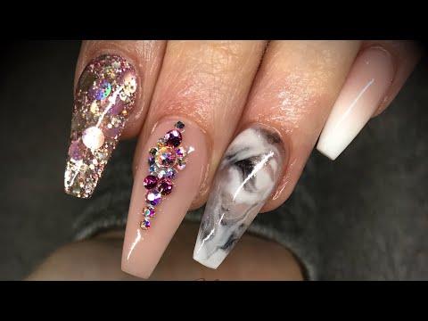 Acrylic nails - design set with swarovski crystals