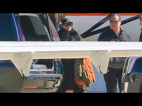 X17 EXCLUSIVE - Kim Kardashian And Kanye West Return Home On Private Jet With Saint And Nori