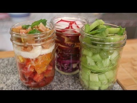 Colorful Rainbow Salads in a Mason Jar | Healthy Recipes | Food How To