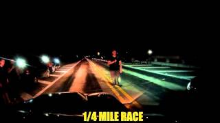 karmastang vs spongebob evo 14 mile 1400 race