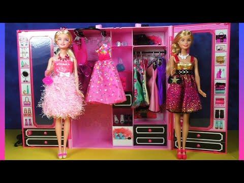 Barbie Wardrobe Set: Barbie Style Ultimate Closet, Barbie Doll Dresses Clothes Hangers & Shoes
