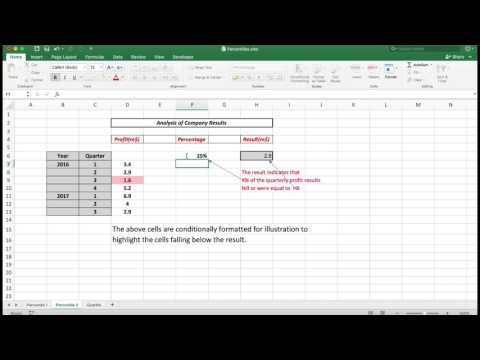 Intermediate to Advanced Excel - statistical analysis using percentiles and quartiles