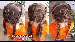 Penteado Infantil de borboleta trançada com Maria Chiquinha