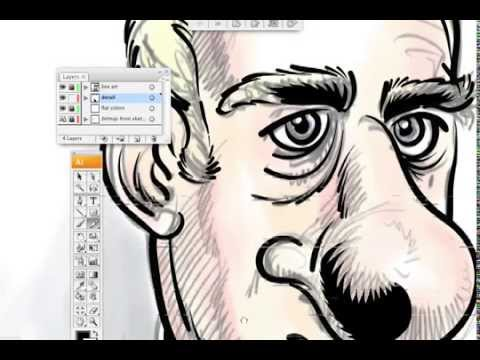 Professional illustrator: Pen Lines and coloring a cartoon in Adobe Illustrator CS5