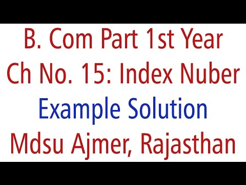Statistics Example Solution. Ch 15 Index Number MDSU Ajmer B. Com Part 1st Year