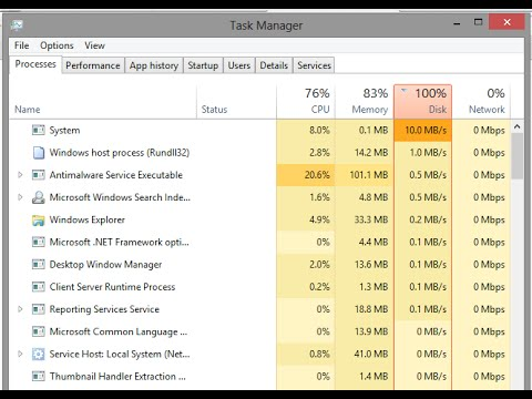 How to Fix 100% Disk Usage On Windows 8/10