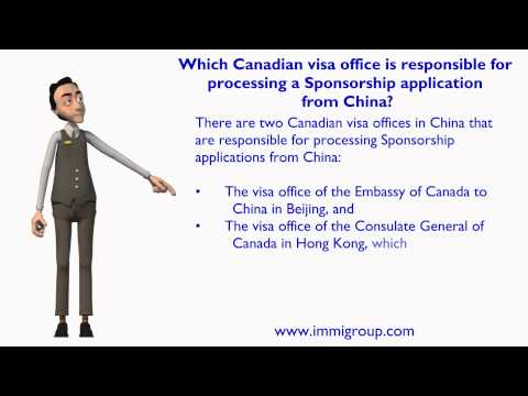 Which Canadian visa office is responsible for processing a Sponsorship application from China?