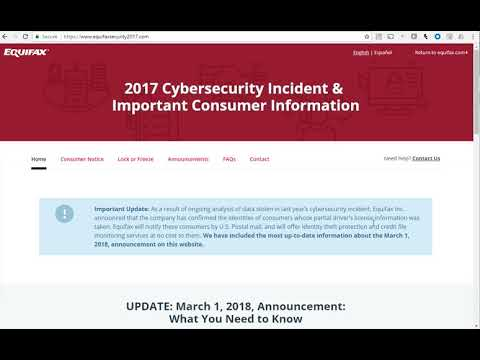 Check if you have Equifax Data Breach at www.equifaxsecurity2017.com