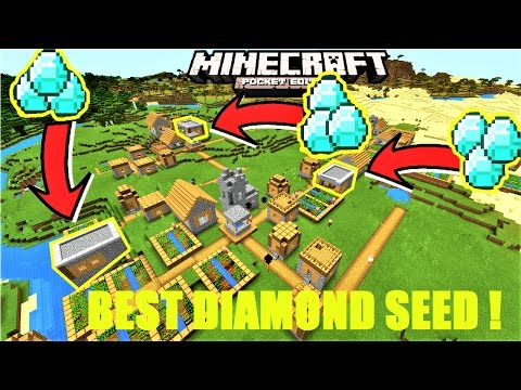 Minecraft PE - BEST DIAMOND VILLAGE SEED ! 3 DIAMOND BLACKSMITHS, 6 VILLAGES | MCPE 1.1