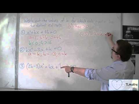 OCR MEI Core 1 4.10 Discriminant - Finding values of k for two distinct real roots