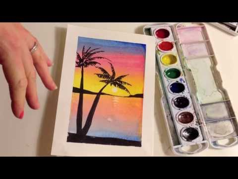 How to paint a sunset with palm trees in watercolor