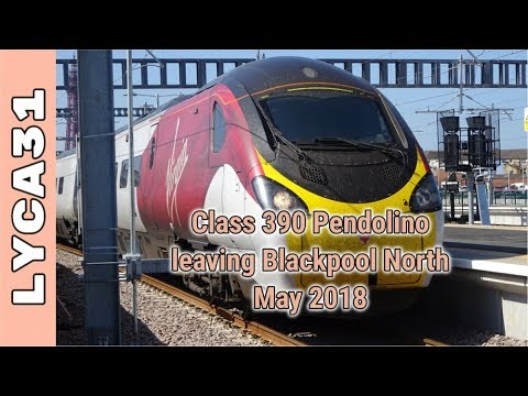 Alstom 390 Class Pendolino leaving Blackpool North. May 2018