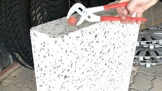 Hot metal ball vs styrofoam - experiment