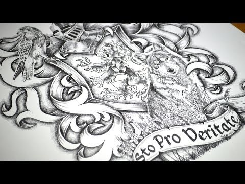 Coat Of Arms Half Sleeve Tattoo Design - Speed Drawing
