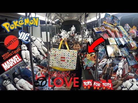 DONATING BUS LOADS $$ OF TOYS FOR CHARITY!! POKEMON CARDS, LEGO, CARS! SPARK OF LOVE/TOYS FOR TOTS!