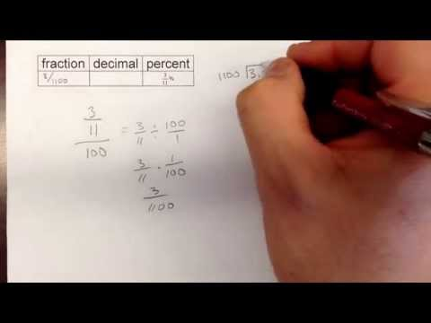 Converting a fractional percent to a decimal and a fraction.